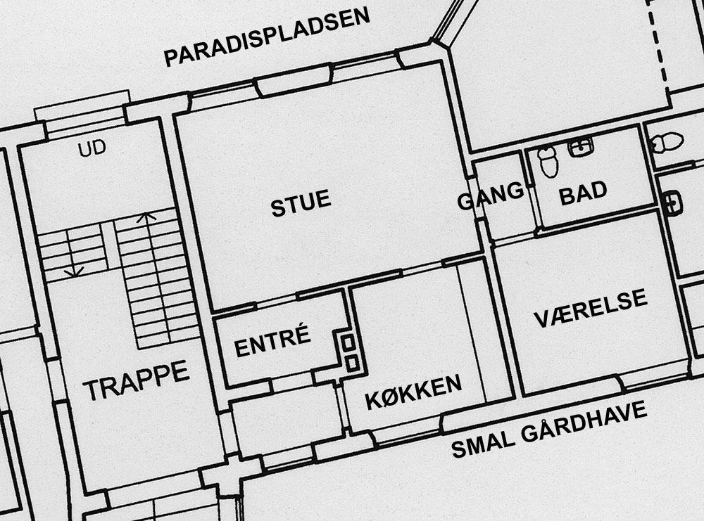 Tegning over Klosterjordet 4, st. tv.