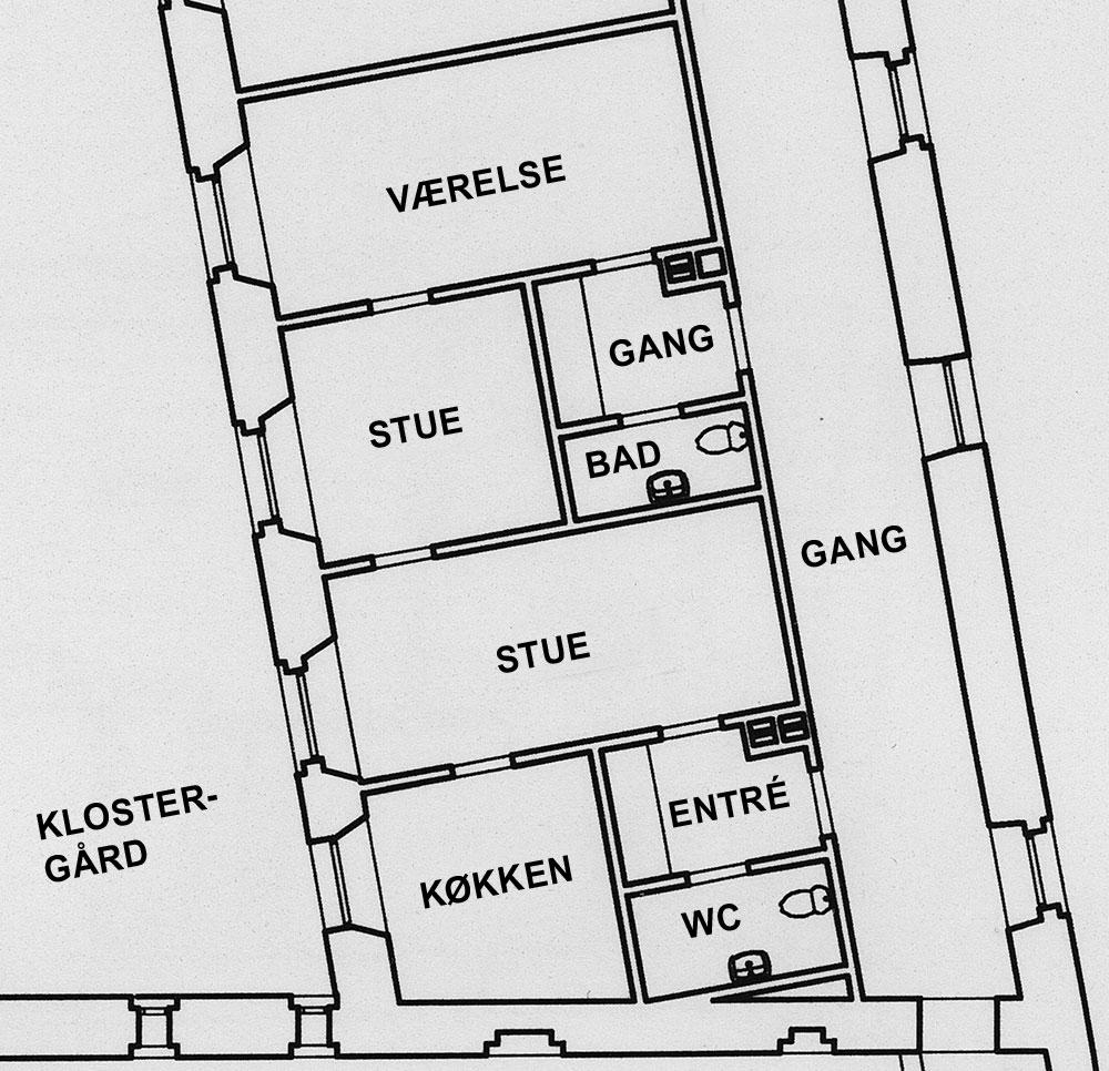 Tegning over Klosterjordet 8, 1. 3.
